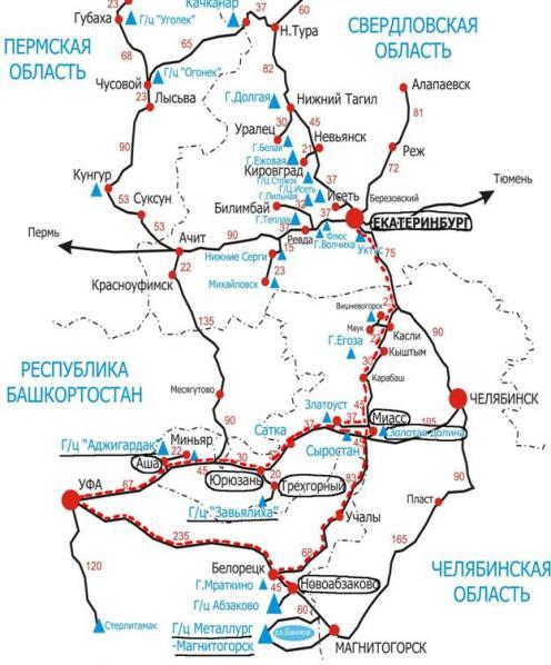 Карта маршрута горнолыжного