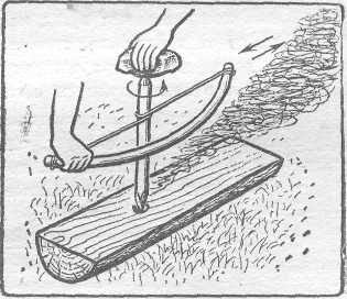 Рис. 2. Получение огня трением