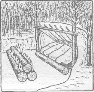 Рис. 4. Костер «нодья» и заслон-отражатель сучьев