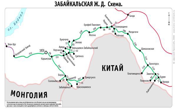 Схема Забайкальской железной