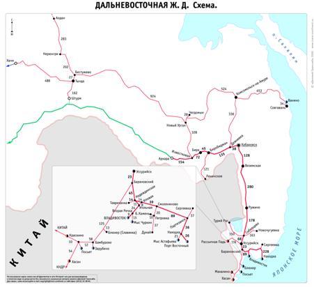 Рис. 4. Схема Дальневосточной железной дороги.