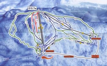Рисунок 1. Схема трасс г/к «Абзаково»