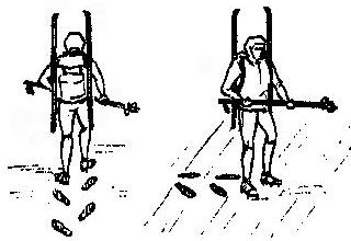 Рис. 7. Подъем и траверсирование склона в кошках