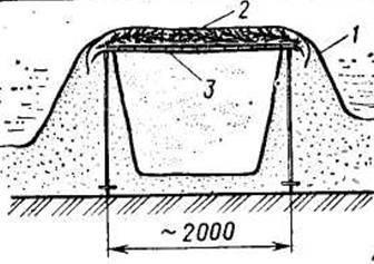Рис. 9. Укрытие типа снежной «землянки»: 1 - пленка; 2 - ветки; 3 - лыжи