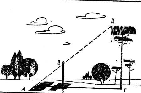 Рис. 11. Определение высоты предмета по его тени